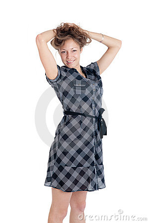 Girl in a checkered dress