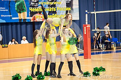 Girl cheerleading from the support team your favorite volleyball team