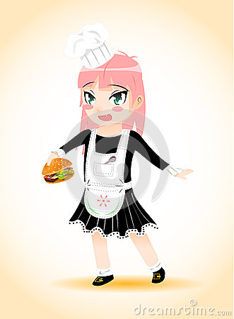 Girl chef with a hamburger vector