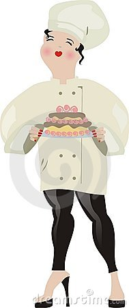 Girl chef high heels cooking baking frosted cake