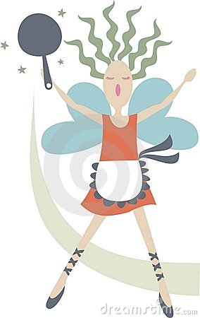 Girl chef magic kitchen cooking fairy skillet