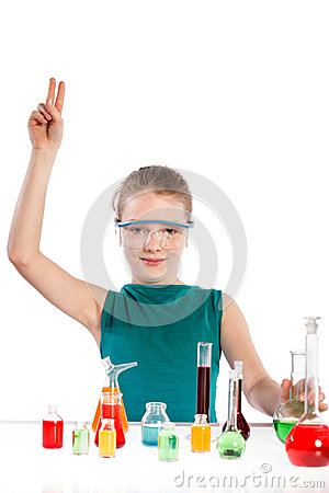 Girl in chemistry class, chemistry lesson