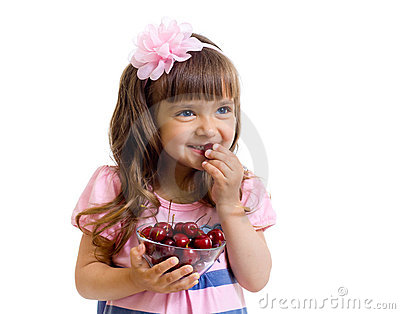 Girl with cherry berries bowl in studio isolated