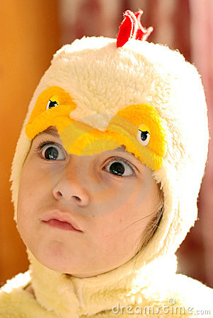 Girl in chicken clothes