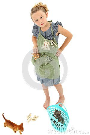 Girl Child in Apron with Kittens in Laundry Basket