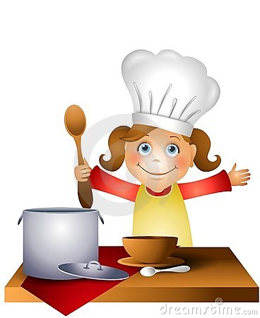 clip art illustration featuring a little girl wearing a chef hat ...