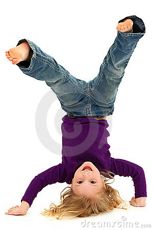 Girl Child Hand Stand Standing On Head