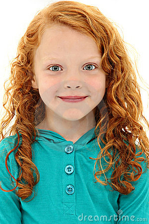 Girl Child With Orange Curly Hair And Blue Eyes Stock