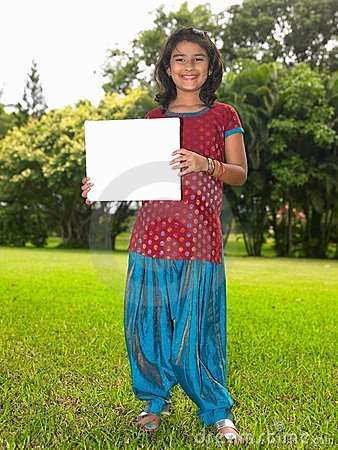 Free Girl Child With Blank Placard Royalty Free Stock Photos - 7974028