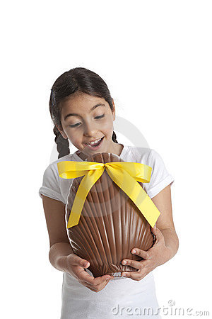 Girl with chocolate easter egg