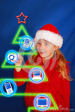 Girl choosing gift on virtual christmas tree