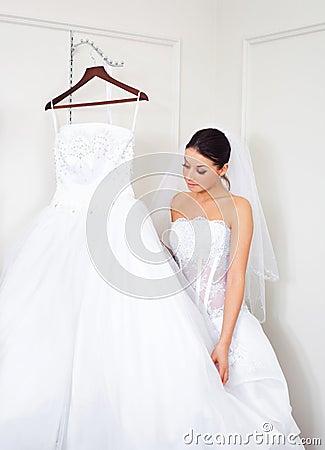 Girl choosing a wedding dress