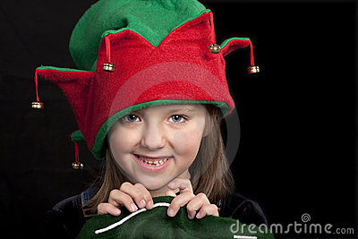 Girl in Christmas Elf hat