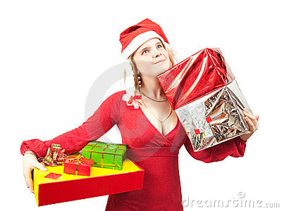 Girl with christmas gifts