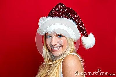 Girl on Christmas is smiling