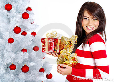 Girl with christmas surprise