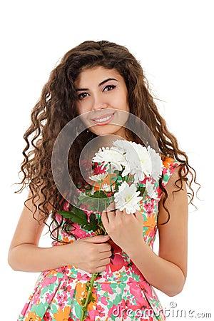 Girl with chrysanthemum