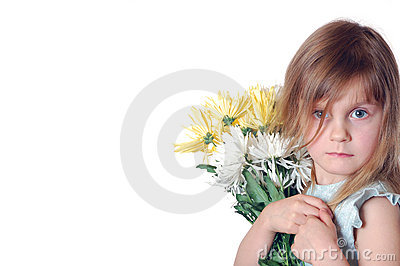 Girl with chrysanthemums