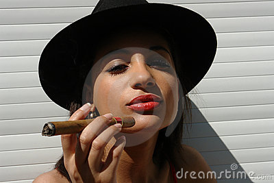 The girl  with the cigar