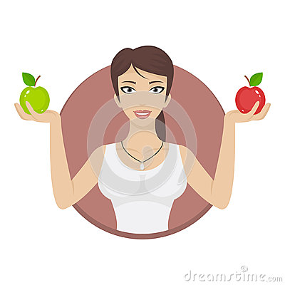 Girl in circle holds apples