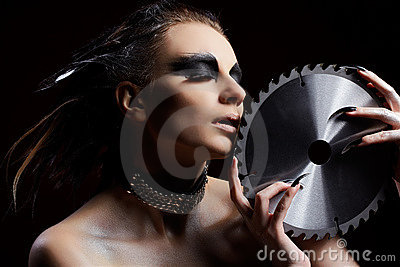 Girl with circular saw