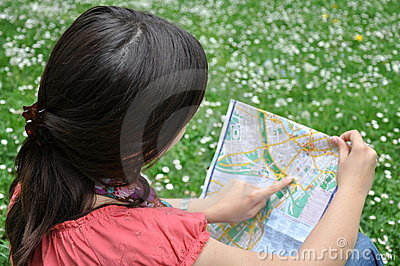 Girl with the city map
