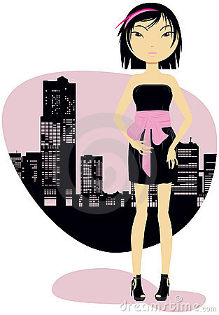 Girl and city silhouette