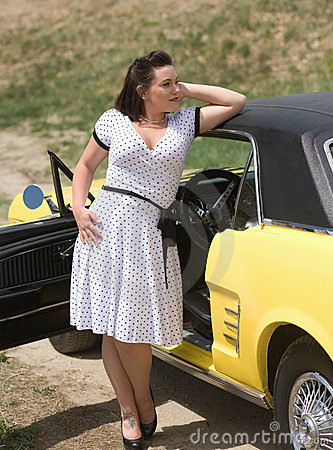 Girl and classic car