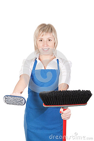 Girl cleaning woman.