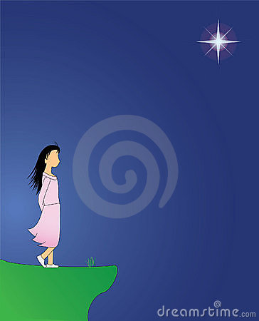 Girl on cliff on a windy evening with star