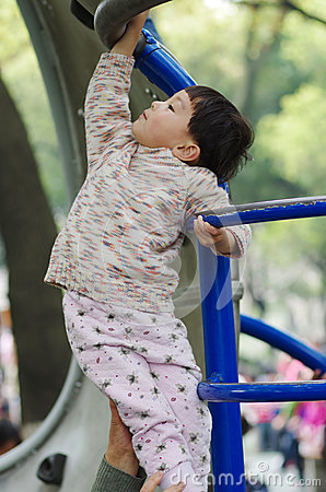Girl climb ladder