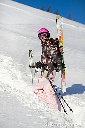 Girl climbing for a freeride