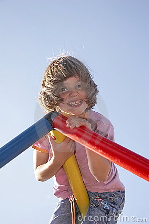Girl on climbing pole 02