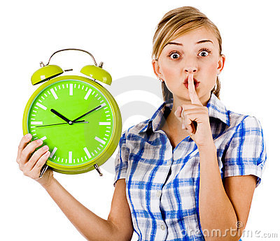 Girl With The Clock Asking Us To Maintain Silence Royalty Free Stock Photography - Image: 15017777