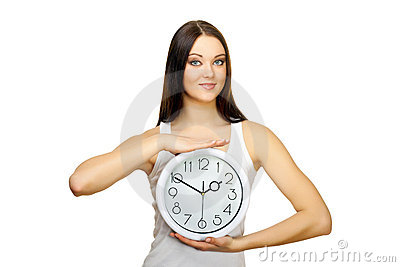The girl with clock in hands