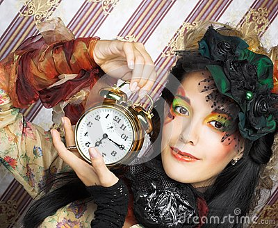 Girl with clock.