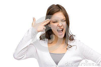 Girl with closed eyes hand gun gesturing