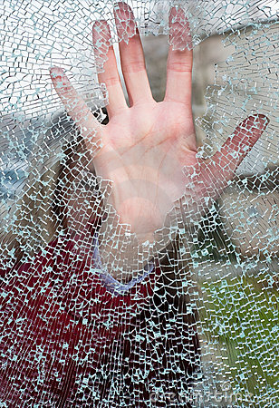 Free Girl Closes Hand A Hole In Glass Stock Photo - 8824380