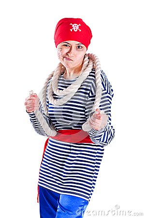 Girl clown costume pirate with a rope