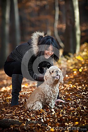 Girl and cocker spaniel