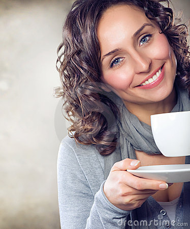 Girl with coffee or tea