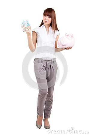 The girl with a coin box and money
