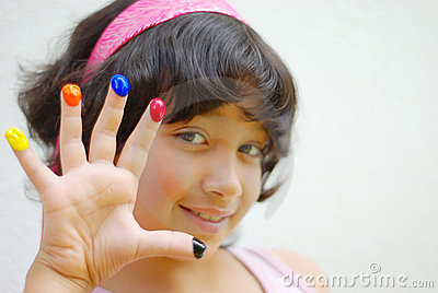 Girl with color on her fingers