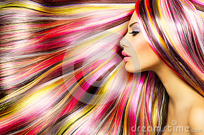 Girl with Colorful Dyed Hair