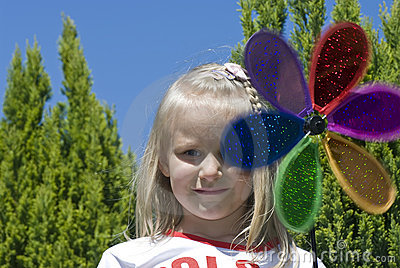 Girl with colorful flower