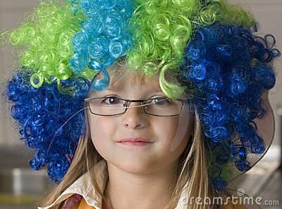 Girl in colorful funny wig