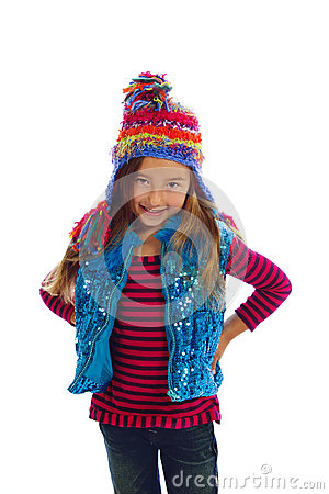 Girl in Colorful Winter Hat and Vest