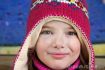 Girl with colorful woollen hat