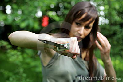 Girl with combat knife