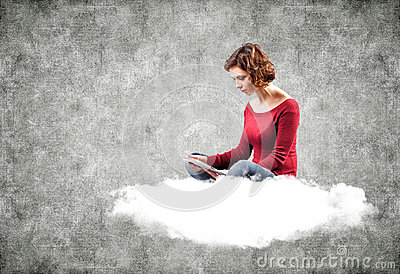 Girl with a computer